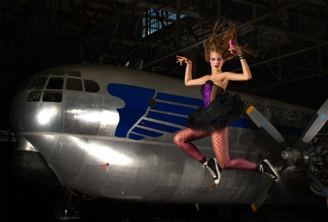 """""""The Girl Who Mutilated the Precious Brownies""""--Cassie, student; age 19 of Norman, Okla., poses for an energy drink ad, while jumping on a trampoline in AMERICA'S NEXT TOP MODEL on UPN.  Photo: Sasha Pflaeging/UPN. (c) 2004 CBS Broadcasting Inc.  All Rights Reserved"""