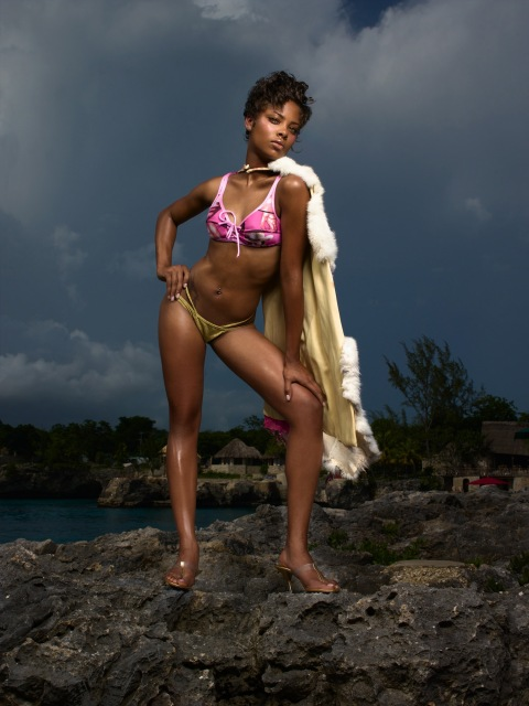 "Image #: 865337    Eva, a 19 year-old student from Los Angeles, CA, models a swim suit on volcanic rock in Jamaica during an episode of the UPN reality television series ""America's Next Top Model.""    UPN /Landov"