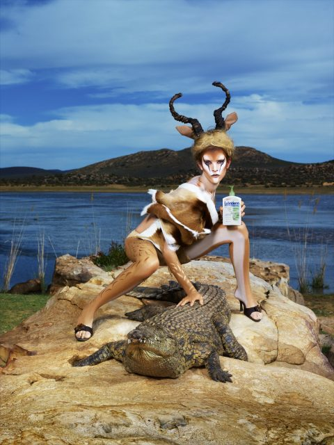 """""""The Girls The Lionesses Are Hunting""""--Kahlen, restaurant hostess; age 21 of Broken Arrow, Okla., evokes and poses as a  wild animal in AMERICA'S NEXT TOP MODEL on UPN. Photo:  Gerda Genis/UPN. ©2005 CBS  Broadcasting, Inc.  All Rights Reserved."""