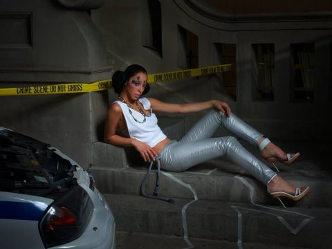 """The Girls Who Hate Their Makeovers""--Lluvy, janitor; age 21 of Modesto, Calif. in her first photo shoot modeling as an alien in AMERICAS NEXT TOP MODEL on UPN.   Photo: Nigel Barker/UPN.  ©2005  CBS Broadcasting Inc. All Rights Reserved."