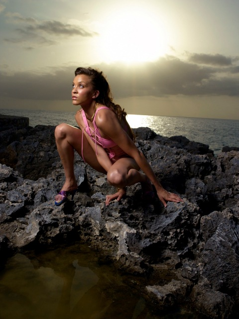 "Image #: 865343    Magdalena, a 24 year-old nursing student from Worcester, MA, models a swim suit on volcanic rock in Jamaica during an episode of the UPN reality television series ""America's Next Top Model.""    UPN /Landov"