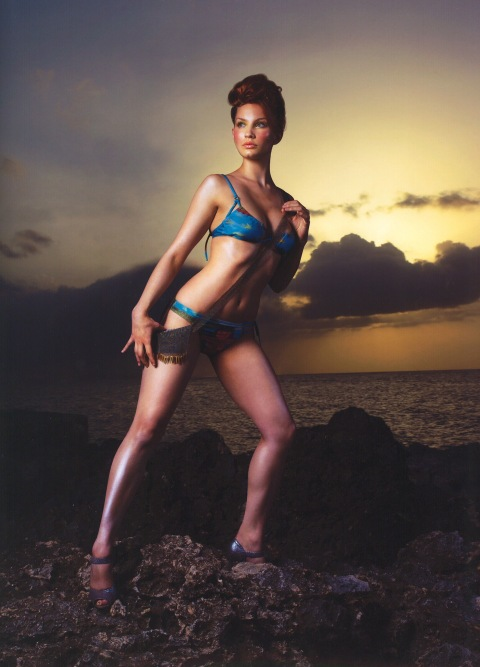 """302""--Nicole, former punk rocker; age 21 of Minot, N.D  models a swim suit on volcanic rock in Jamaica  in AMERICA'S NEXT TOP MODEL on UPN.  Photo:  Nick Cardillicchio/UPN.  ©2004 CBS Broadcasting Inc.  All Rights Reserved"