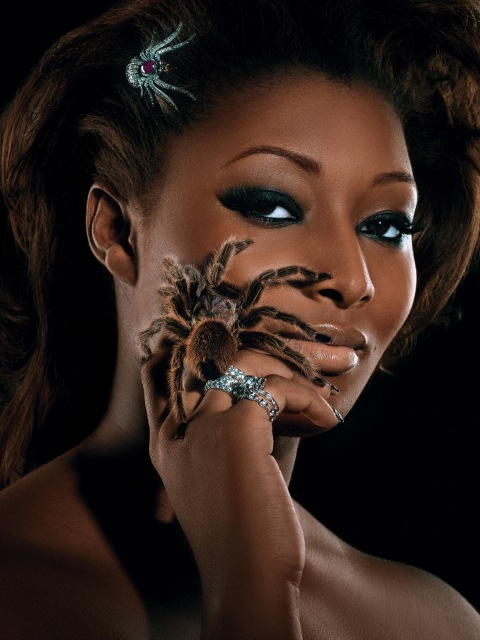 """The Girl Who is Panic Stricken""--Toccara, student; age 22 of Dayton, Ohio, models diamond jewelry, while also accessorized with a live tarantula in AMERICA'S NEXT TOP MODEL on UPN  Photo:Diodato/UPN.  (c) 2004 CBS Broadcasting Inc.  All Rights Reserved."