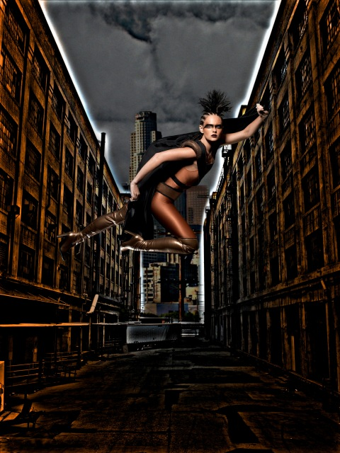 """The Girls Become Superheroes""--Cassandra, Student; age 19 of Houston, ""flies"" from a wire during a photo shoot in AMERICA'S NEXT TOP MODEL on UPN. Gallery Photo: Mike Ruiz/UPN ©2005 CBS Broadcasting Inc. All Rights Reserved."