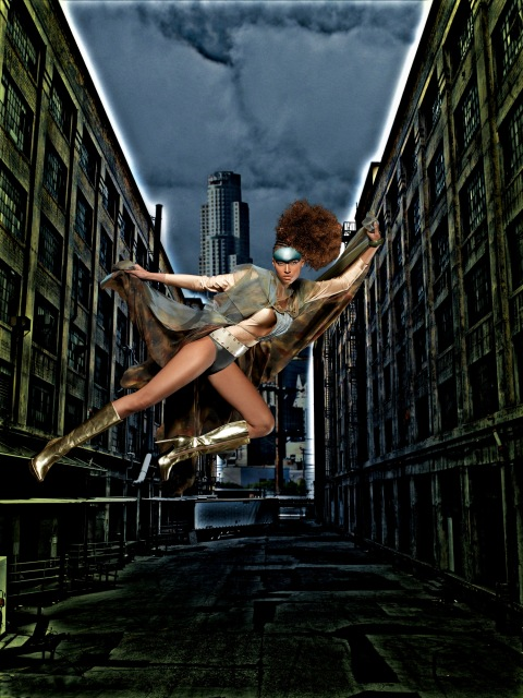 """The Girls Become Superheroes""-- Nik, Office Coordinator; age 21 of Atlanta, ""flies"" from a wire during a photo shoot in AMERICA'S NEXT TOP MODEL on UPN. Gallery Photo: Mike Ruiz/UPN ©2005 CBS Broadcasting Inc. All Rights Reserved."