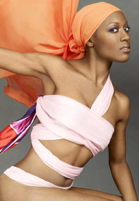 """Take My Photo, Tyra!"" -- The girls must work extra hard to stand out, literally, when Tyra wraps them up in vibrant fabrics and photographs them during this week's photo challenge on America's Next Top Model on The CW.  Pictured: Bianca Cycle 13 Photo: Tyra Banks/Pottle Productions Inc ©2008 Pottle Productions Inc. All Rights Reserved."