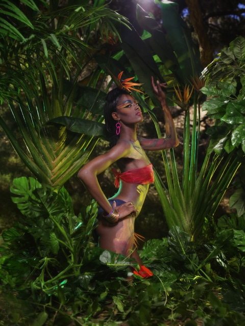 """The Girl Who Goes Bald"" -- The girls participate in a runway challenge and ""pose-off"" in a jungle photo shoot on America's Next Top Model on The CW. (cycle 9) Pictured: Ebony Photo: Lionel Deluy/Pottle Productions Inc ©2007 Pottle Productions Inc. All Rights Reserved."