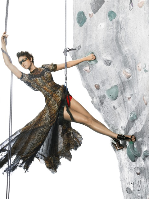 """The Girls Go Rock Climbing"" -- The girls are left hanging in the air for an edgy fashion photo shoot on a rock-climbing wall, on America's Next Top Model on The CW. Pictured: Janet Photo: Matthew Jordan Smith/Pottle Productions Inc ©2007 Pottle Productions Inc. All Rights Reserved."