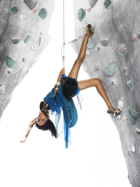 """The Girls Go Rock Climbing"" -- The girls are left hanging in the air for an edgy fashion photo shoot on a rock-climbing wall, on America's Next Top Model on The CW. Pictured: Saleisha Photo: Matthew Jordan Smith/Pottle Productions Inc ©2007 Pottle Productions Inc. All Rights Reserved."